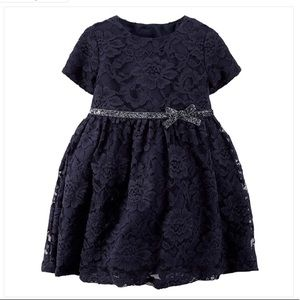 Navy Floral Lace Overlay Dress with Sparkly Belt